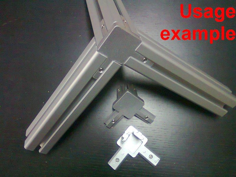 Aluminum T Slot Profile 3 Way 90 Deg Inside Corner Bracket