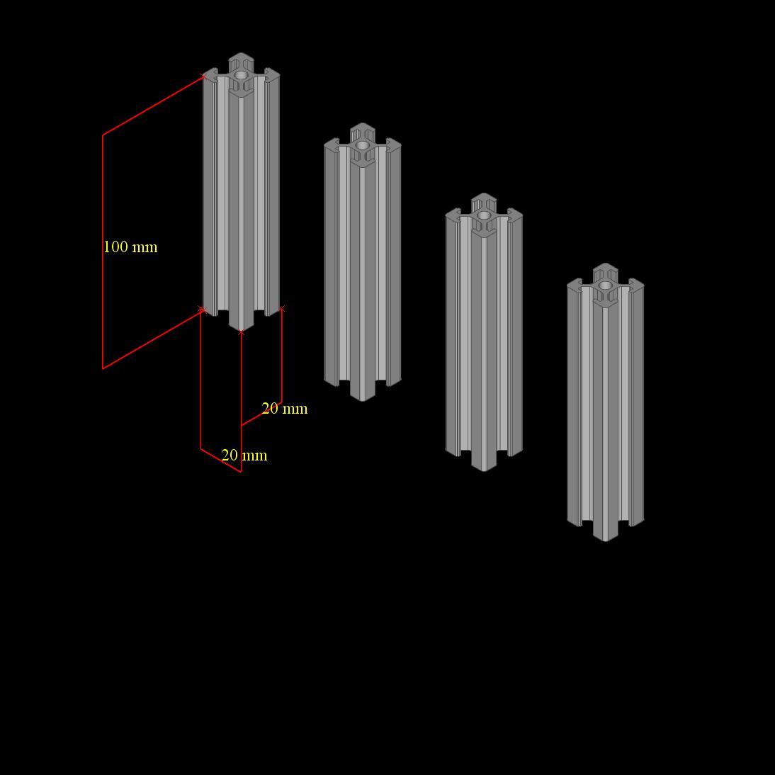 Aluminum T-slot extruded framing profile 20x40 Metric Series Length Choose